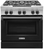 "KDRS467VBK KitchenAid  36"" Commercial Dual Fuel Range with EasyConvect Conversion System and Even-Heat True Convection - Imperial Black"