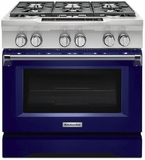 "KDRS467VBU KitchenAid  36"" Commercial Dual Fuel Range with EasyConvect Conversion System and Even-Heat True Convection - Cobalt Blue"