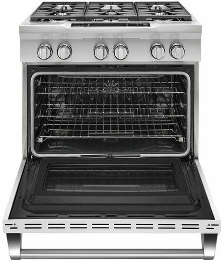 "KDRS467VMW KitchenAid  36"" Commercial Dual Fuel Range with EasyConvect Conversion System and Even-Heat True Convection - Imperial White"
