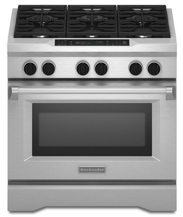 "KDRS467VSS KitchenAid  36"" 6 Burner Commercial Dual Fuel Range with True Convection and True Broil - Stainless Steel"
