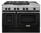 "KDRS483VBK KitchenAid  48"" Commercial Dual Fuel Range with Even Heat True Convection System and CleanBake Hidden Element  - Imperial Black"