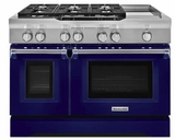 "KDRS483VBU KitchenAid  48"" Commercial Dual Fuel Range with Even Heat True Convection System and CleanBake Hidden Element - Cobalt Blue"