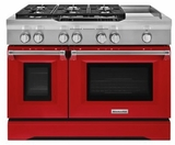"KDRS483VSD KitchenAid  48"" Commercial Dual Fuel Range with Even Heat True Convection System and CleanBake Hidden Element  - Signature Red"