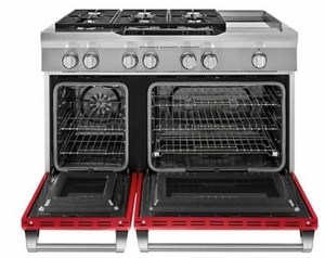 """KDRS483VSD KitchenAid  48"""" Commercial Dual Fuel Range with Even Heat True Convection System and CleanBake Hidden Element  - Signature Red"""