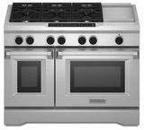 "KDRS483VSS KitchenAid  48"" Commercial Dual Fuel Range - Stainless Steel"