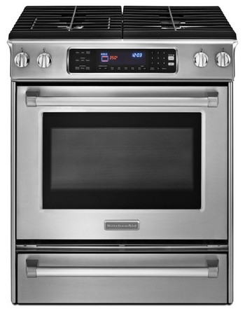 "KDSS907XSP KitchenAid Architect Slide-in 30"" Dual Fuel Convection Range - Pro Handle - Stainless Steel"