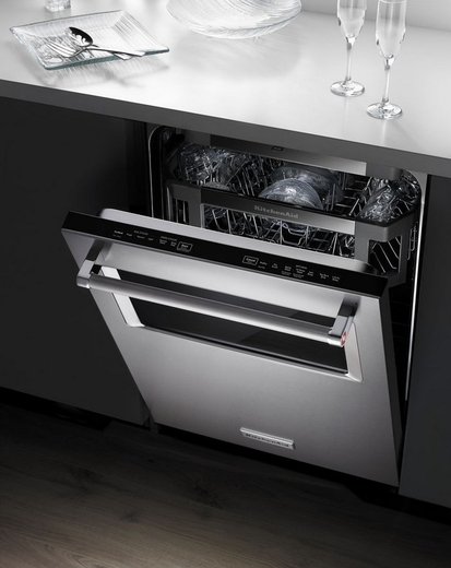 "Kitchenaid Dishwasher Stainless Steel kitchenaid 44 dba 24"" dishwasher with window and lighted interior"