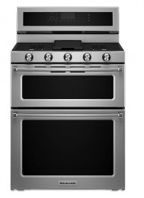 "KFDD500ESS KitchenAid 6.7 Cu. Ft. 30"" Double Oven Dual Fuel 5 Burner Convection Slide-In Range with SatinGlide Rack and Glass Touch Controls - Stainless Steel"