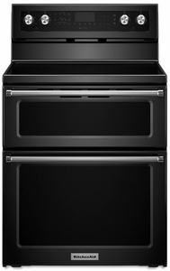 "KFED500EBL KitchenAid 6.7 Cu. Ft. 30"" Electric 5 Burner Double Oven Convection Range - Black"