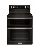 "KFED500EBS KitchenAid 6.7 Cu. Ft. 30"" Free Standing Double Oven Electric Range with 5 Burners and Even-Heat True Convection - Black Stainless Steel"