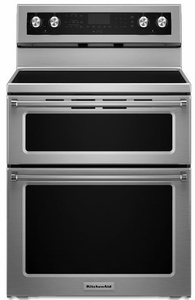 """KFED500ESS KitchenAid 6.7 Cu. Ft. 30"""" Electric 5 Burner Double Oven Convection Range - Stainless Steel"""