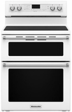 "KFED500EWH KitchenAid 6.7 Cu. Ft. 30"" Electric 5 Burner Double Oven Convection Range - White"
