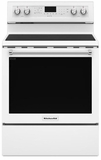 "KFEG500EWH KitchenAid 6.4 Cu. Ft. 30"" Electric 5 Element Convection Range - White"