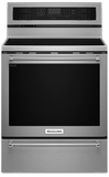 "KFES530ESS KitchenAid 6.4 Cu. Ft. 30"" 5 Element Electric Convection Range with Warming Drawer - Stainless Steel"