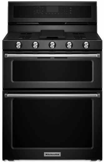 Kfgd500ebl kitchenaid 6 0 cu ft 30 gas 5 burner double for Kitchenaid 0 finance