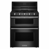 "KFGD500EBL KitchenAid 6.0 Cu. Ft. 30"" Gas 5 Burner Double Oven Convection Range - Black"