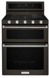 "KFGD500EBS KitchenAid 6.0 Cu. Ft. 30"" Gas 5 Burner Double Oven Convection Range with Even-Heat and Glass Touch Controls - Black Stainless Steel"