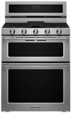 "KFGD500ESS KitchenAid 6.0 Cu. Ft. 30"" Gas 5 Burner Double Oven Convection Range - Stainless Steel"