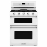"KFGD500EWH KitchenAid 6.0 Cu. Ft. 30"" Gas 5 Burner Double Oven Convection Range - White"