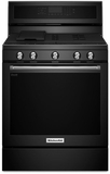 "KFGG500EBL KitchenAid 5.8 Cu. Ft. 30"" Gas 5 Burner Convection Range - Black"