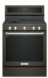 "KFGG500EBS KitchenAid 5.8 Cu. Ft. 30"" Gas 5 Burner Convection Range with Aqualift and Hidden Bake - Black Stainless Steel"