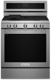 "KFGG500ESS KitchenAid 5.8 Cu. Ft. 30"" Gas 5 Burner Convection Range - Stainless Steel"