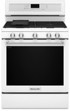 "KFGG500EWH KitchenAid 5.8 Cu. Ft. 30"" Gas 5 Burner Convection Range - White"