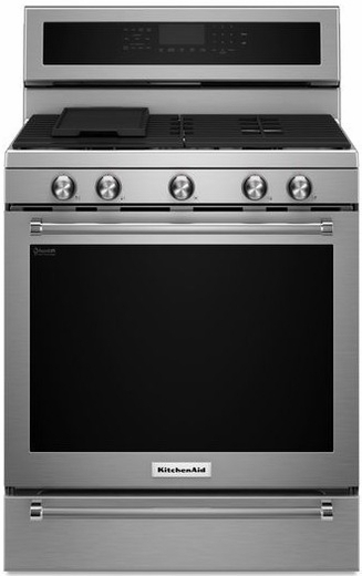"KFGS530ESS KitchenAid 30"" 5 Burner Gas Convection Range with Warming Drawer - Stainless Steel"