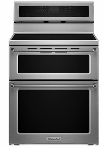 "KFID500ESS 30"" KitchenAid 6.7 Cu. Ft. Electric 5 Burner Induction Double Oven Convection Range - Stainless Steel"