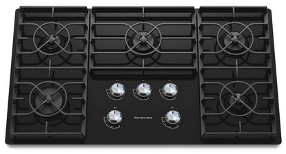 "KGCC566RBL KitchenAid Architect 36"" Gas Ceramic Cooktop - Black"