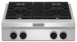"KGCU407VSS KitchenAid 30"" Commercial Gas 4-Burner Cooktop - Stainless Steel"