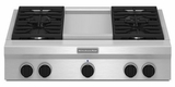 "KGCU463VSS KitchenAid  36"" Commercial Gas Cooktop with Griddle - Stainless Steel"