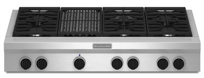 """KGCU482VSS KitchenAid  48"""" Commercial Gas Cooktop with Grill - Stainless Steel"""