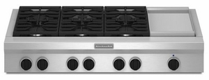 "KGCU483VSS KitchenAid  48"" Commercial Gas Cooktop with Griddle - Stainless Steel"