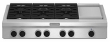 """KGCU483VSS KitchenAid  48"""" Commercial Gas Cooktop with Griddle - Stainless Steel"""