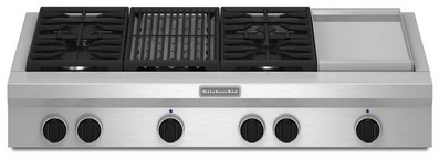 "KGCU484VSS KitchenAid  48"" Commercial Gas Cooktop with Grill & Griddle - Stainless Steel"