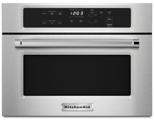Kmbs104ess kitchenaid 24 built in microwave oven with for Built in microwave oven 24 inch