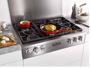 "KMR11341G Miele 36"" Rangetop with M Pro Dual Stacked Natural Gas Burner System with TrueSimmer - Stainless Steel"