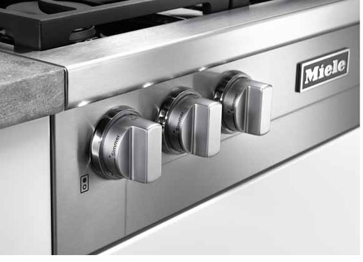 "KMR1134G Miele 36"" Rangetop with M Pro Dual Stacked Natural Gas Burner System with TrueSimmer - Stainless Steel"