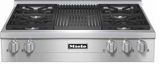 "KMR11351G Miele 36"" Natural Gas Rangetop with Grill & Backlit Precision Knobs - Stainless Steel"