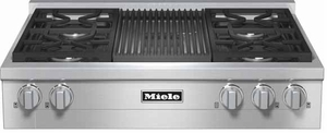 "KMR11351GLP Miele 36"" LP Gas Rangetop with Grill & Backlit Precision Knobs - Stainless Steel"