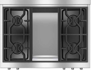 """KMR11361LP Miele 36"""" LP Gas Rangetop with Griddle - Stainless Steel"""