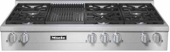 Kmr1355g Miele 48 Natural Gas 6 Burner Rangetop With Grill Stainless Steel
