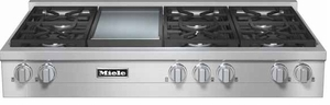 "KMR13561LP Miele 48"" LP Gas 6 Burner Rangetop with Griddle - Stainless Steel"