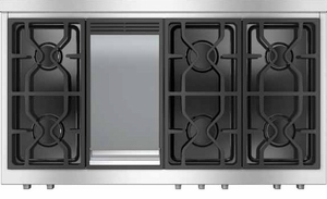 """KMR13561LP Miele 48"""" LP Gas 6 Burner Rangetop with Griddle - Stainless Steel"""