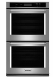 "KODT100ESS KitchenAid 30"" Double Wall Oven with Even-Heat Thermal Bake/Broil and Glass Touch Display - Stainless Steel"