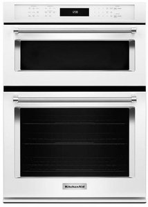"KOCE500EWH KitchenAid 30"" Even-Heat True Convection Combination Wall Oven with Built In Microwave and SatinGlide Extension Rack - White"