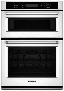"KOCE507EWH KitchenAid 27"" Combination Wall Oven with Even-Heat True Convection (lower oven) - White"
