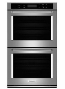 """KODT107ESS KitchenAid 27"""" Double Wall Oven with Even-Heat True Convection(Upper Oven) and Glass Touch Display - Stainless Steel"""