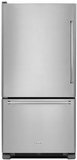 "KRBL102ESS KitchenAid 22 Cu.ft. 33"" Full Depth Non Dispense Bottom Mount Refrigerator - Left Hinge - Stainless Steel"